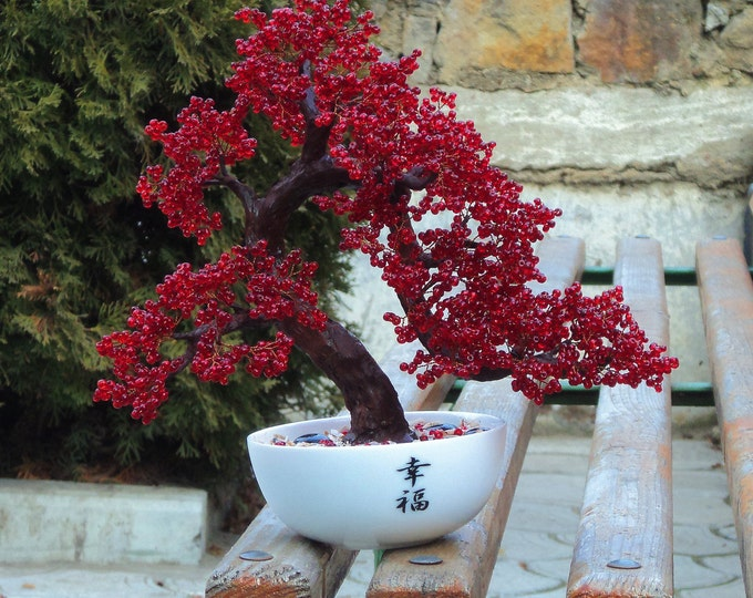 Beaded artificial tree red bonsai, autumn japanese bonsai, feng shui tree, wire sculpture, woody plant