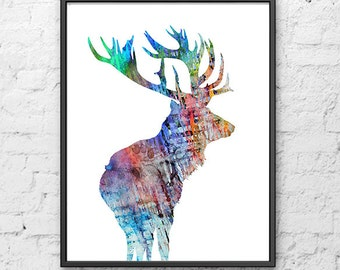 Watercolor deer art print, woodland animal art, watercolor deer, watercolor painting, animal print - H167