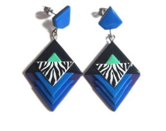 Geometric Earrings, Royal Blue Earrings, Zebra Pattern Earrings, Zebra Jewelry, Cobalt Blue Earrings, Long Stud Earrings, Retro Earrings