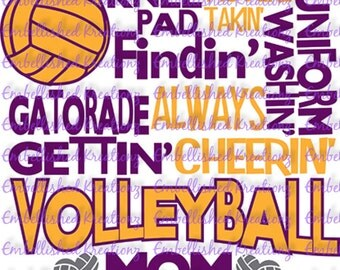 Volleyball/'Volleyball Mom' with Volleyball/Words/Hearts Vinyl Decal/Tumbler/Car Window Decal/Volleyball Parent Shirt/Volleyball Sign