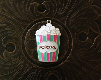 Pink and Teal Enamel Popcorn Pendant for Chunky Bubblegum Necklaces