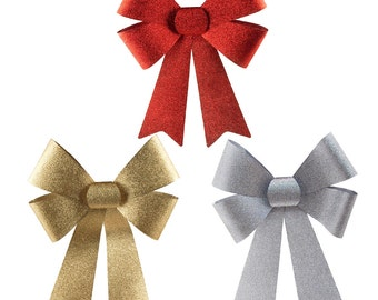 Plastic Christmas Bow with Glitters, Gold/Silver/Red, 3-Piece