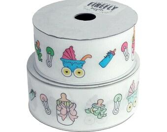 Baby Themes Print Grosgrain Ribbon, 1-1/2-Inch, 25 Yards