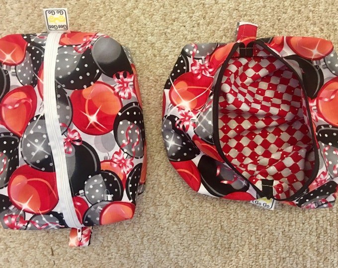 "Christmas Travel bag, cosmetic bag, toy bag, coffee/ tea travel bag with zipper 7"" x 9"" x 3"" or gift wrap"