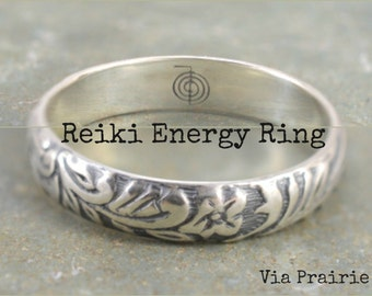 Reiki Ring, Fire finger ring, ChoKuRei ring, Reiki reminder ring, Reiki Symbol Ring, Reiki jewelry, Reiki Energy ring, 925 Sterling Silver