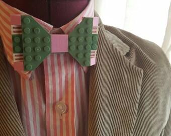 Sand Green Pink White Stripe Bow Tie Broach Pin Groomsmen Groom Wedding Anniversary LEGO