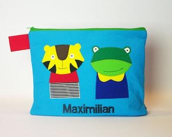 "Diaper bag/cosmetic bag ""Tiger and frog"""