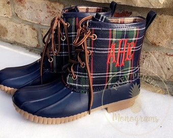 SALE Monogrammed Plaid Duck Boots