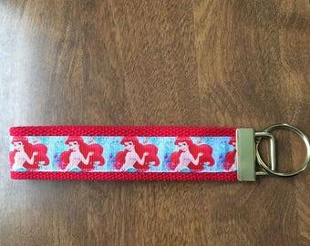 Little Mermaid Key Chain Wristlet Zipper Pull