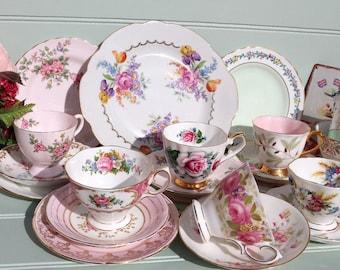 Vintage Mis Matched Pinks tea set for 6