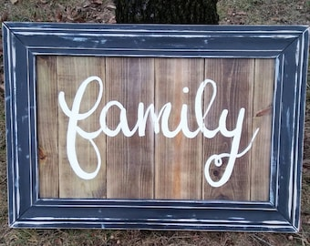 Family wood sign family calligraphy sign framed reclaimed wood sign framed wood Family sign modern calligraphy sign