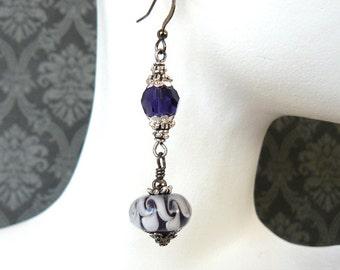 Purple Bead Dangle Earrings, Dark Purple Lampwork Glass Bead and Crystal Earrings, Romantic Vintage Style Beaded Jewelry, Gift For Her