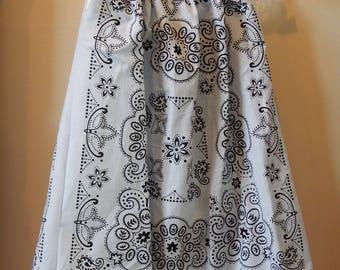 Bandana Dress - Girl's Western Dress - Size 7/8 - Summer Dress - Children's Clothing - Young Lady's Blouse  - White & Black
