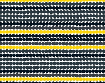 Marimekko Rasymatto fabric, half yard, 18 x 56 inches, yellow black, from Finland
