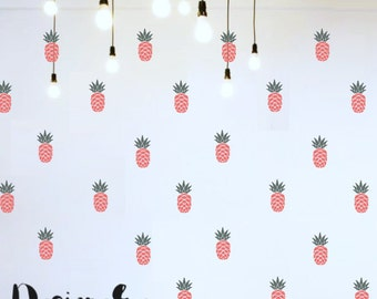 """Wall Stickers - Pineapples - Set of 24 - 6"""" tall by 3"""" wide"""