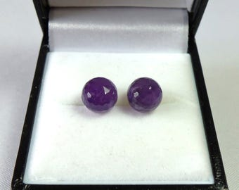 Sterling Silver 8mm Amethyst Faceted Stud Earrings.