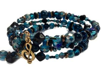 Teal Wrap Bracelet, Music Lover Gift for Her, Unique Gift Bracelet, Memory Wire Bracelet, Beaded Coil Bracelet, Colorful Boho Jewelry Gift