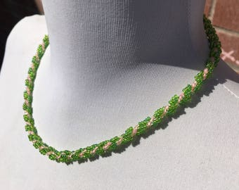 Handcrafted - Twisted Rope Necklace - Woven Beaded Necklace - Glass Seed Beads - Vintage Jewellery - Gift for Her - Green - Pink