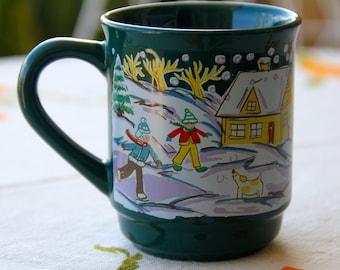 Vintage Gotz Ceramic Coffee Mug, Vintage, 1970s Retro Christmas Scene