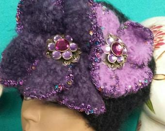 Black Amethyst Hat with Embellished Jewels