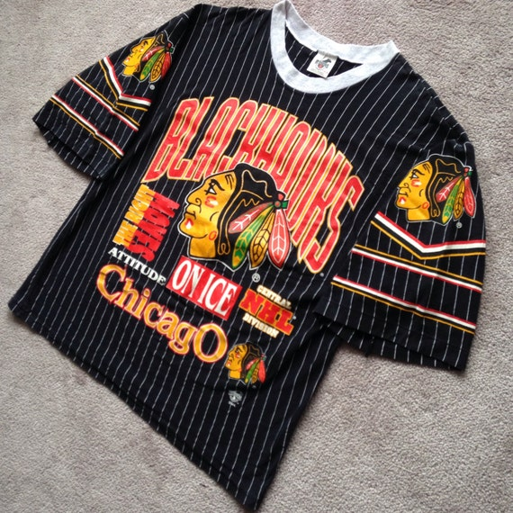 Vintage chicago blackhawks all over print pinstriped ravens t for Vintage blackhawks t shirt