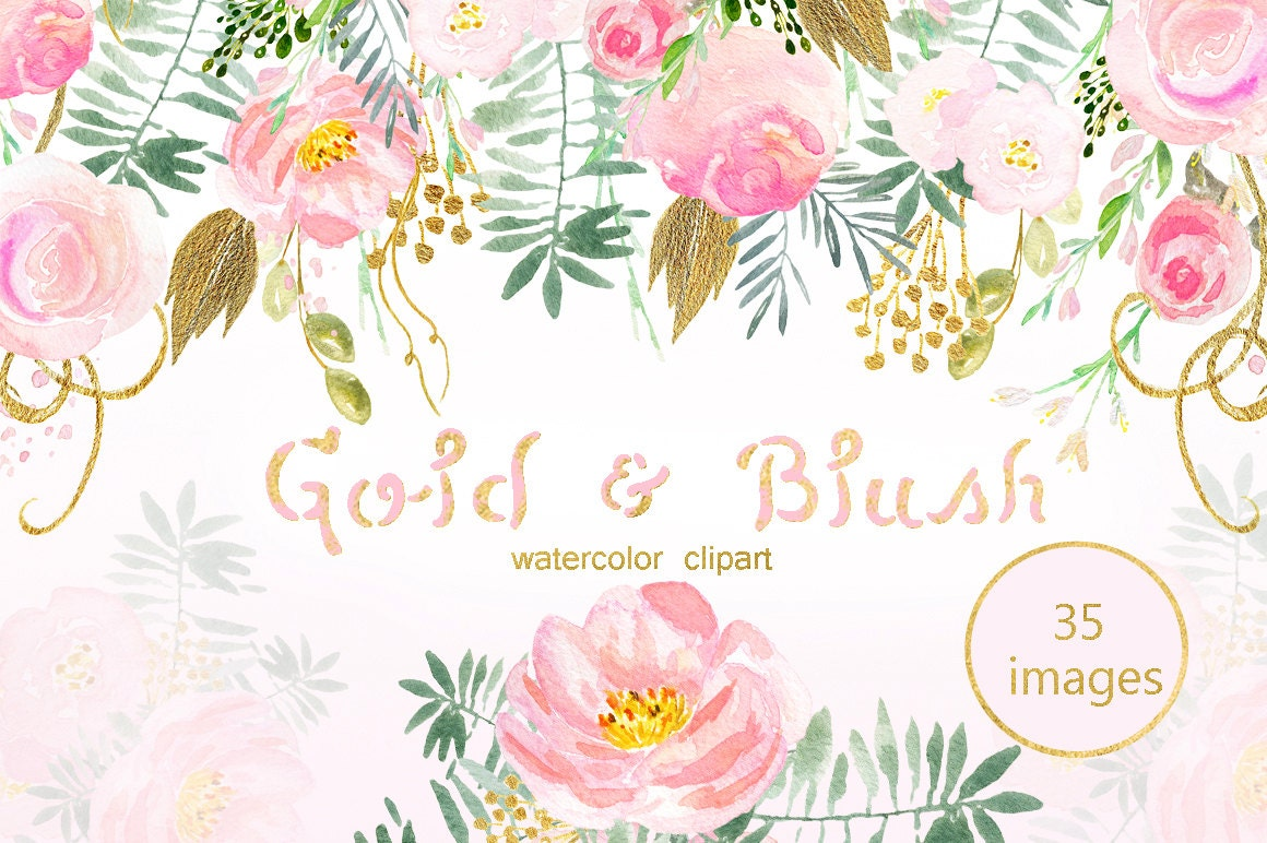 Blush Pink And Gold Watercolor Clip Art Pink Watercolour