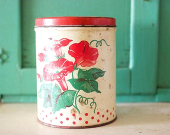 Rustic Vintage Floral Tin Canister