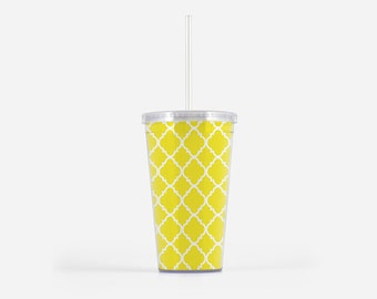 Bright Cheery Yellow Tumbler, 16oz, Drinkwear, Gifts for Her, Tumbler with Straw, Travel Tumbler