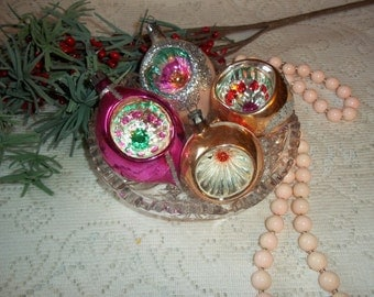 Small Vintage Mercury Glass Christmas Ornaments Silver Glitter Indented Ornaments 1950's Retro Beautiful Collectibles
