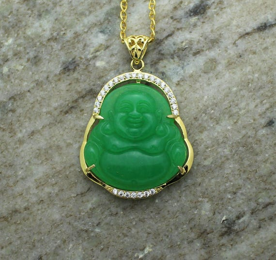 Custom 3d jade 14k yellow gold laughing buddha pendant charm like this item aloadofball Image collections