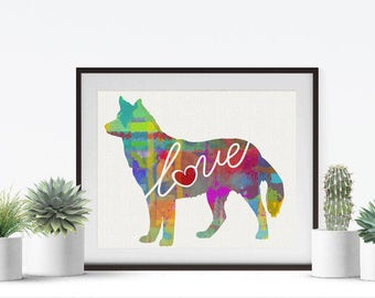 Siberian Husky Love - A Colorful, Bright & Whimsical Watercolor Print Home Decor Gift - Can Be Personalized with Name (+ More Breeds)