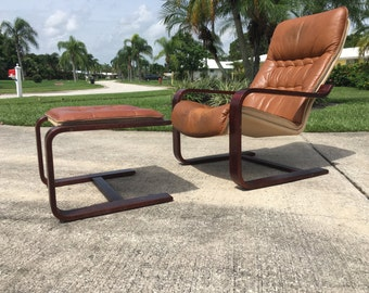 Danish Mid Century Modern Reclining Lounge Chair and Ottoman