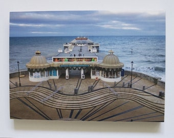 Cromer Pier in Winter, photo print mounted on wood. A4