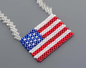 4th of July American Flag Patriotic Seed Beads Necklace 90101002