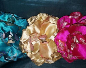 Chinese brocade satin open flower barrette