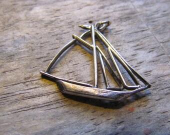 Vintage 1970's Sterling Silver Sailboat Pendant