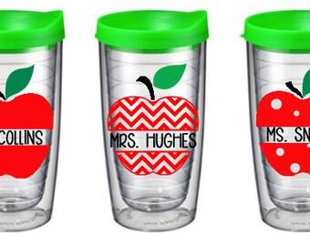 Teacher gift Teacher appreciation tumbler, Personalized Cup,  Teacher Apple, Teacher Appreciation, Tumbler, Teacher Cup, Teacher Mug