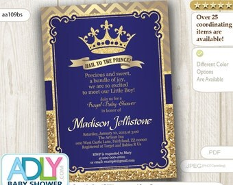 royal blue gold prince baby shower invitation hail to the prince glitter golden crown chevron