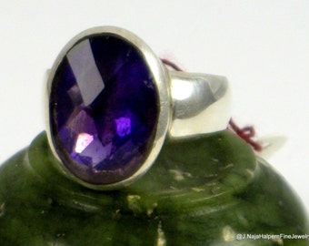 Purple Amethyst Ring, February Birthstone, Statement Ring, Sterling Silver Ring, Large Ring, Natural Amethyst, Handmade Jewelry, Size 8