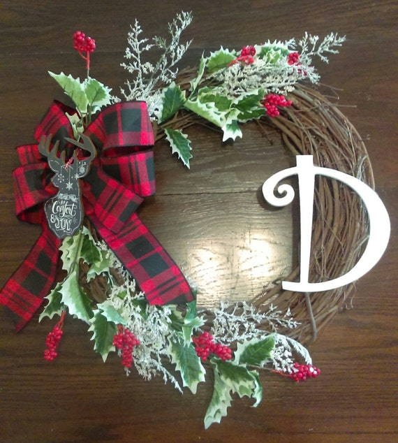 items similar to christmas wreath with buffalo plaid ribbon and monogram letter on etsy