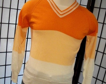 Men's vintage orange striped colorful v neck sweater s m