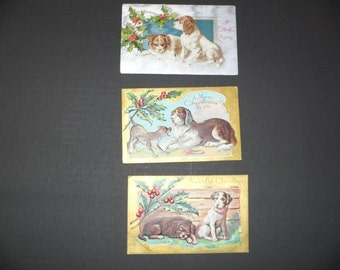 3 Edwardian Era Christmas Postcards with Dogs 1900 Pet post Cards