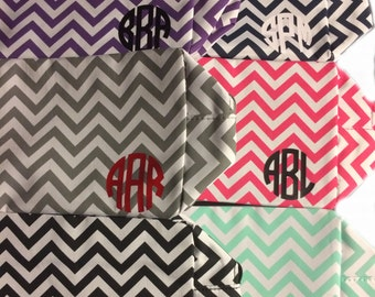 Monogrammed Chevron Cosmetic Bag, Bridesmaid gifts, personalized makeup bag, party favors, and graduation gifts