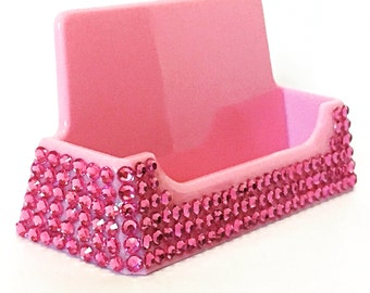 Pink Bling business card holder, bling desk accessories, bling office supplies