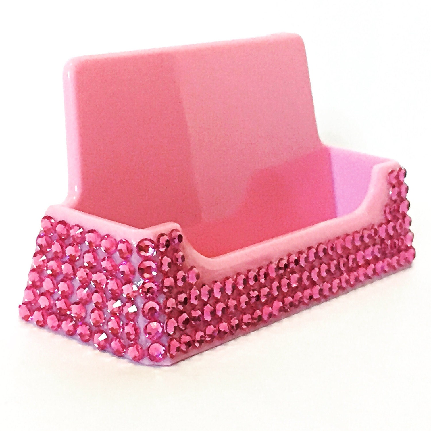 Silver bling bedazzed desk business card holder custom office pink bling business card holder bling desk accessories bling office supplies magicingreecefo Image collections