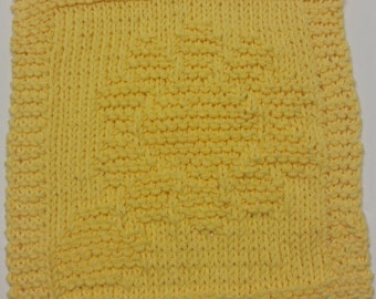 Knit Sunflower Dishcloth/Washcloth