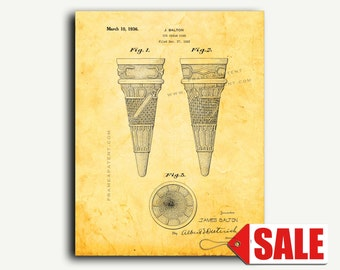 Patent Print - Ice Cream Cone Patent Wall Art Poster
