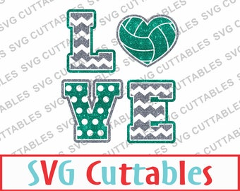 Volleyball Love SVG, EPS, DXF, Vector, Digital Cut File