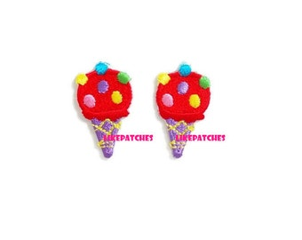 Set 2pcs. Mini Red Ice Cream Violet Cone Rainbow Sugar Topping New Sew / Iron On Patch Embroidered Applique Size 1.6cm.x2.8cm.