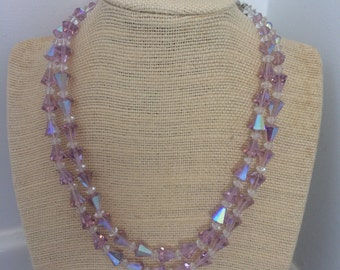 Lilac crystal necklace and clip on earrings 1950